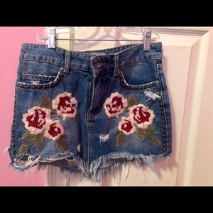 Free People Rose Embroidered Jean Skirt